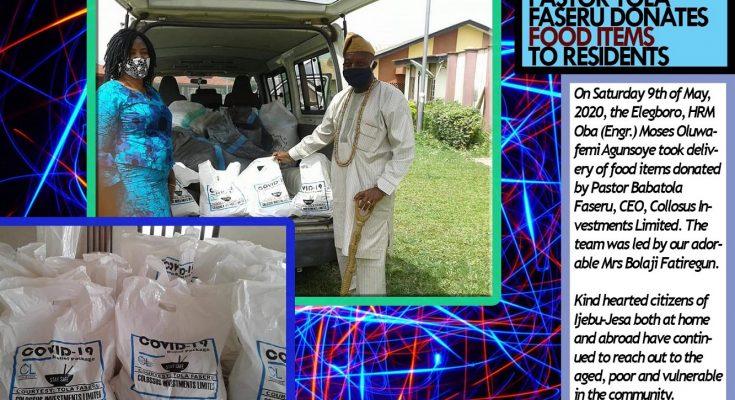 PASTOR TOLA FASERU DONATES FOOD ITEMS TO RESIDENTS OF IJEBU-JESA